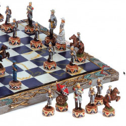 Close up View Civil War Themed Chess Set