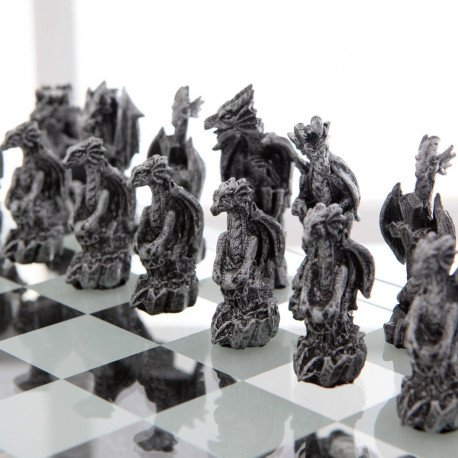 Medieval Themed Chess Sets  Dragons and Bones -closeup pieces