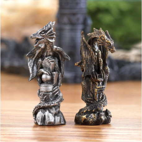 Medieval Themed Chess Sets  Dragons and Bones -closeup pieces2