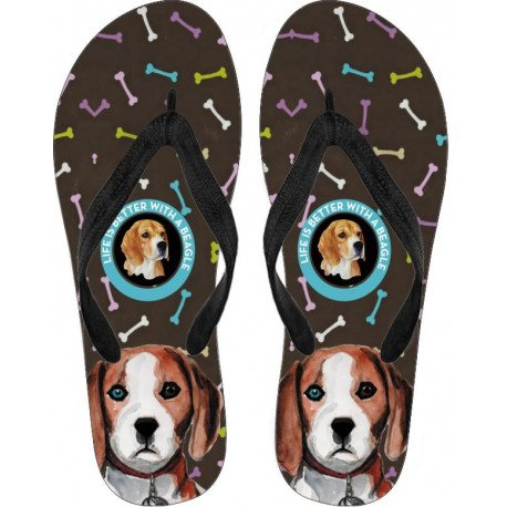 Beagle Flip Flops by Living Life with Style for women and men