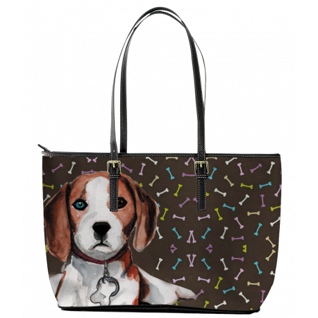 Beagle Leather Tote Bag (Small) by Living Life with Style