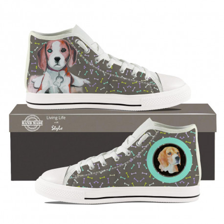 Beagle High Top Sneakers for Men by Living Life with Style