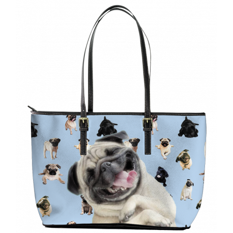 Pug Leather Tote Bag