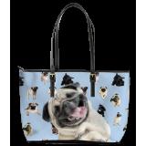 Pug Leather Tote Bag