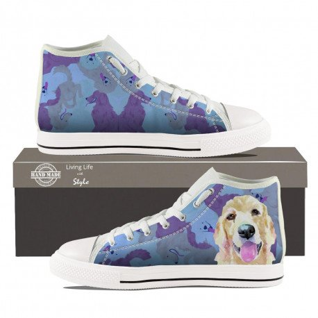 Mens Golden Retriever High Top Sneakers by Living Life with Style shown in white