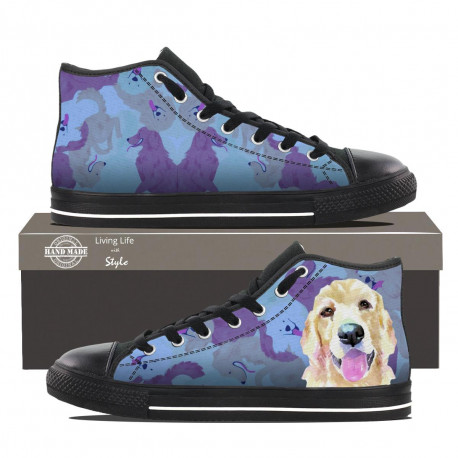 Womens Golden Retriever High Top Sneakers by Living Life with Style shown in Black