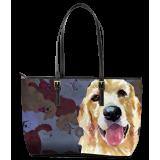 Golden Retriever Leather Tote Bag