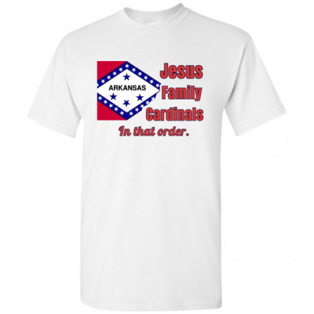"""Arkansas """"In that Order!"""" T-shirt by Living Life with Style shown in white"""