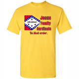 "Arkansas ""In that Order!"" T-shirt by Living Life with Style shown in yellow"