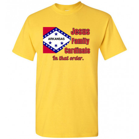 """Arkansas """"In that Order!"""" T-shirt by Living Life with Style shown in yellow"""