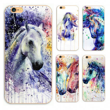 Watercolour Horses  iPhone Hard Plastic Case Cover