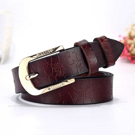 Embossed Floral Genuine Leather Belt With A Touch Of Bling Buckle