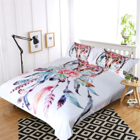 South West Charm Longhorn Skull with Dream Catcher & Feathers Bed Cover