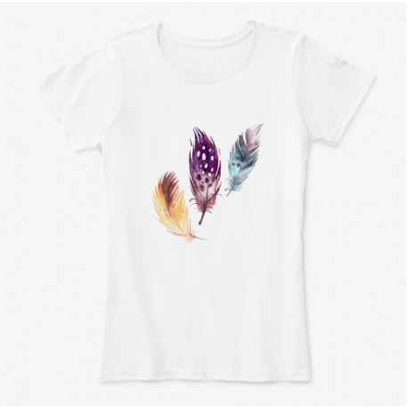 Water Color Feather Print T-Shirt