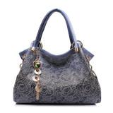 Floral Stamped Print Tote Handbag