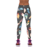 Designer Feather Print Leggings - Black