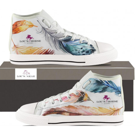 Womens Hightop - White With Feather Print