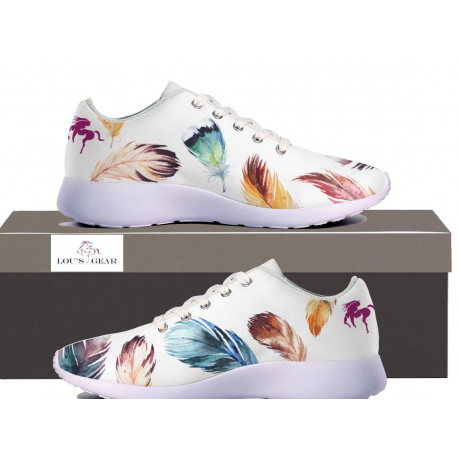 Womens Feather Design Sneakers - White