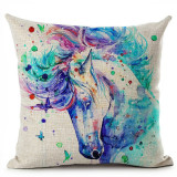 Watercolor Horses Printed Linen Cotton Pillow