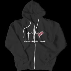 Faith Hope Love -Zipper Hoodie