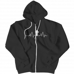 Christian Heartbeat Cross- Zipper Hoodie