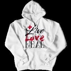 Live Love Heal Nurse -Zipper Hoodie