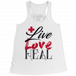 Live Love Heal Nurse - Bella Flowy Racerback Tank Top