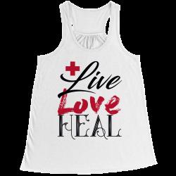 Live Love Heal Nurse - Bella Flowy Racerback Tank Top