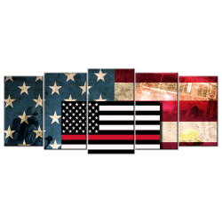 Firefighters Flag - 5 panel Wall Art
