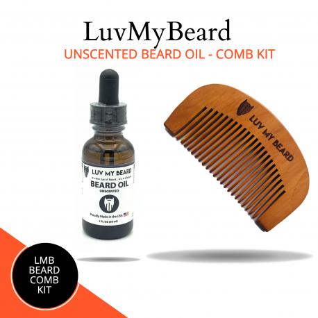 LuvMyBeard Unscented Beard Oil Comb Kit