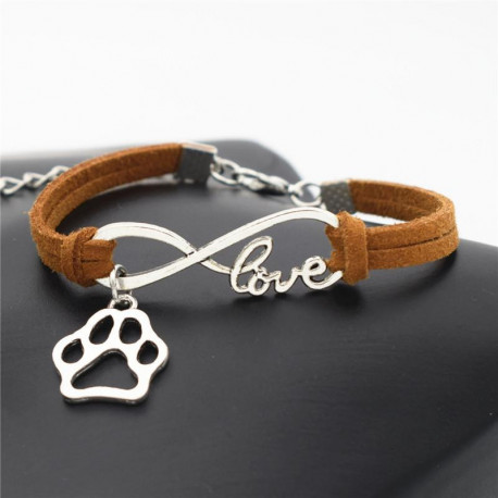 Offer: Stylish Adorable Dog Paw Infinity Leather Bracelet