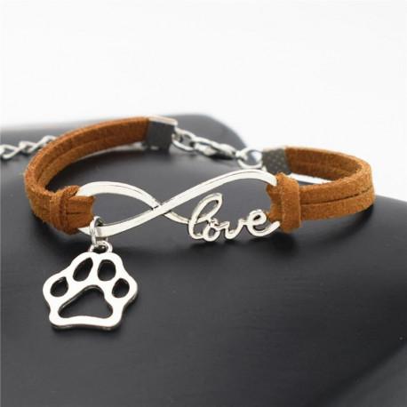 Offer: Stylish Adorable Dog Paw Infinity Leather Bracelet