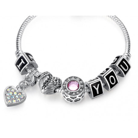 Abigail: I Love You 925 Antique Silver Heart Charm Bracelet - Crystal Beads - Ideal For Valentines Day, Mother, Girlfriend - gr