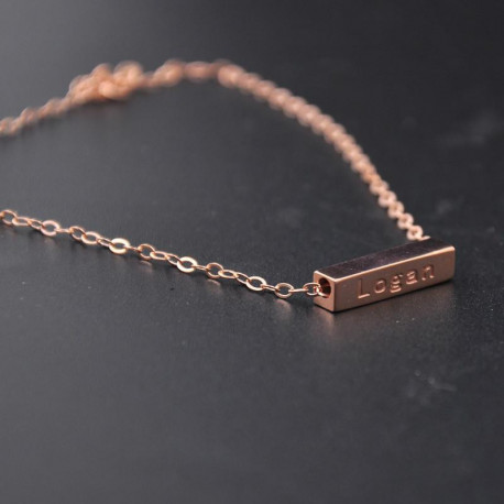 Rose Gold 3D Bar Bracelet Engrave Words Custom Name Bracelet in rectangular shape