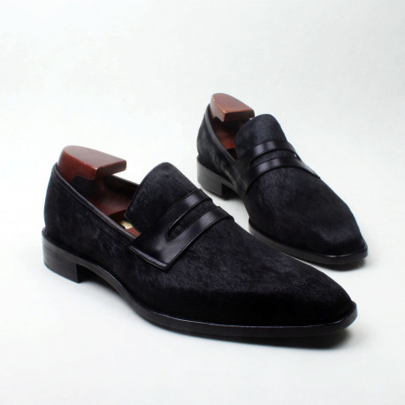 Black Horse-Hair Square Toed Penny Loafer