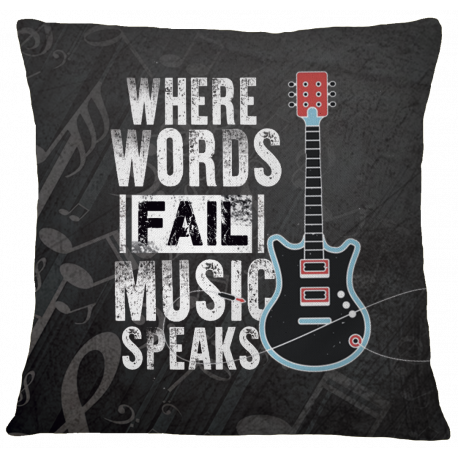 Music Speaks Pillow Case Cover - White