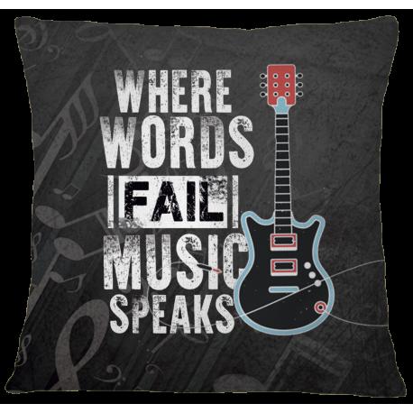 Music Speaks Pillow Case Cover - White