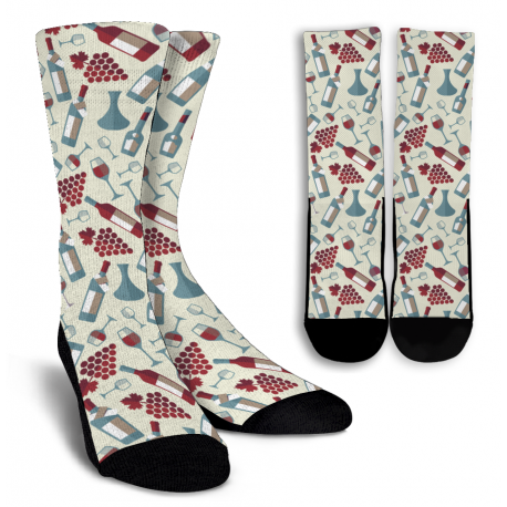 Wine Lovers-1 Crew Socks - White
