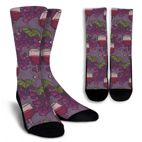 Wine Lovers-5 Crew Socks - White