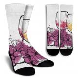 Wine Lovers-9 Crew Socks - White