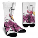 Wine Lovers-9 Crew Socks - White