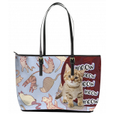 Cats Meow Leather Tote Bag (Large)