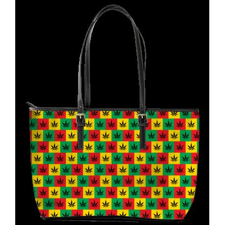 Rasta Style Leather Tote Bag (Large)