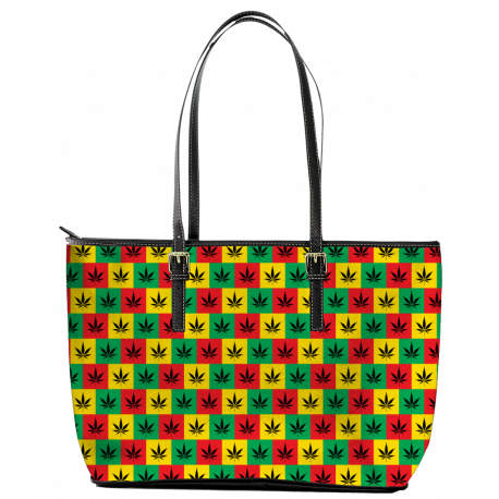 Rasta Style Leather Tote Bag (Large)