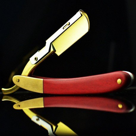 Straight Razor with Wooden Handle Inlaid with Copper
