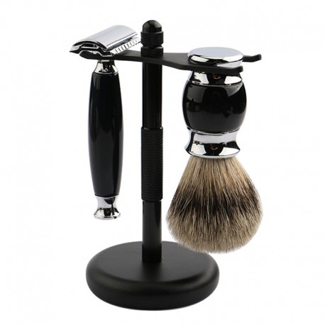 Black Razor Stand for Shaving Brush and Razor