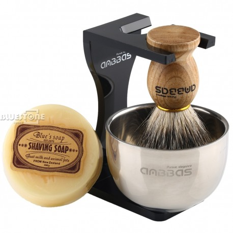 Shaving Set with Badger Hair Brush, Bowl, Stand and Soap