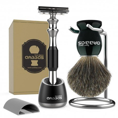 Shaving Set With Safety Razor, Brush and Stand