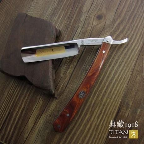 Hand made straight razor with mahogany handle