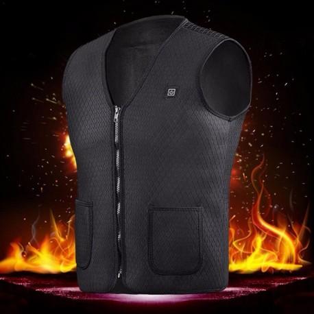 Hombres Mujeres al aire libre USB Chaleco de calefacción por infrarrojos chaqueta de invierno Flexible eléctrico térmico ropa ch